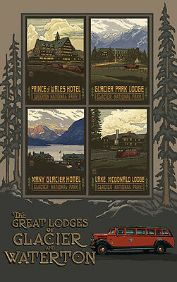 Retro Poster-Glacier NP-The Great Lodges Of Glacier And Waterton (PAL-3208)