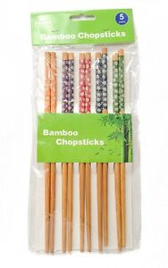 5 Pair Bamboo Chopsticks Long Assorted colours Reusable Chinese Japanese