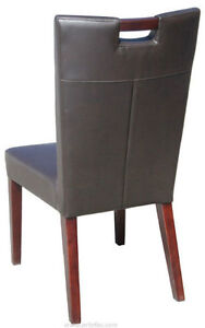 4 - Handle Back Leather Dining Chair in Grey or Brown