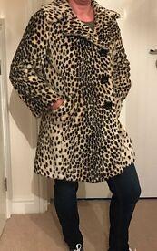 Leopard print coat size 10 topshop