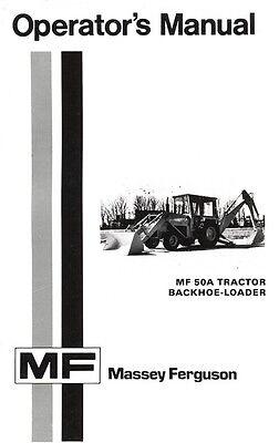 Massey Ferguson Mf-50a Mf50 A Tractor Backhoe Loader Operators Manual