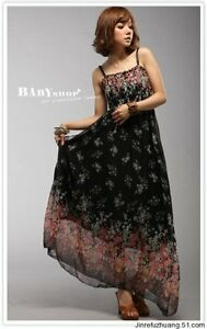 Brand New Gorgeous Elegant Black Bohemian Flower maxi Long dress Beach dress