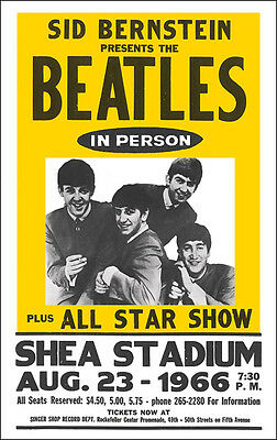 THE BEATLES 1966 Shea Stadium Concert Poster