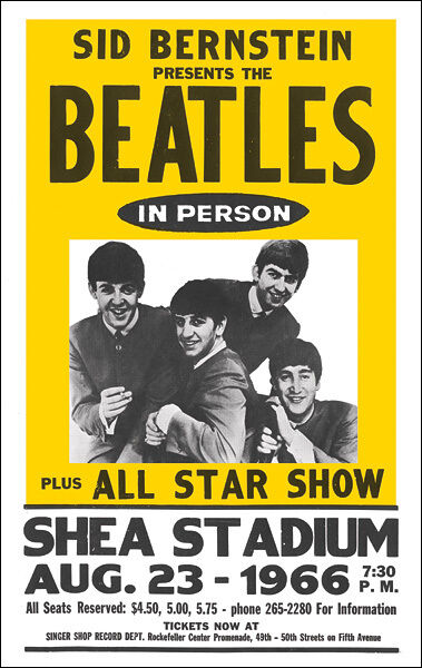 THE BEATLES 1966 Shea Stadium Concert Poster - $12.99