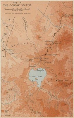EAST AFRICAN CAMPAIGN 1941. The Gondar sector. Ethiopia.World War 2 1956 map