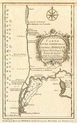 'Partie de la Coste d'Afrique'. Southern Mauritania BELLIN/SCHLEY 1747 old map