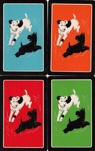 Vintage Swap/Playing Cards - Set of 4 - Deco dogs