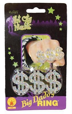 Erwachsene Big Daddy Gangster 3 Dollar Zeichen Ring Rapper Kostüm Zubehör (Silber Dollar Kostüm)