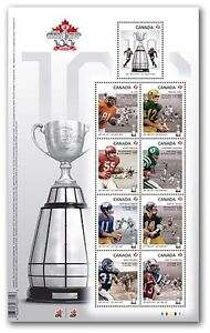 Canada post 100th CFL Grey Cup 2012 stamps