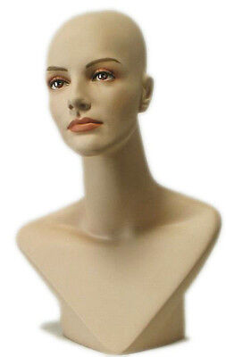 MN-414 Female Mannequin Head Form Display with V Neck Bust