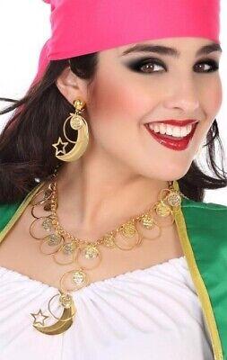 Ladies Arabian Gold Coin Moon Earrings Necklace Fancy Dress Costume Jewellery
