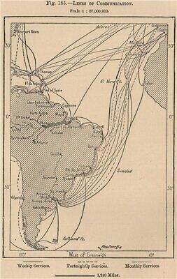 Steamship routes. Lines of Communication. Argentina 1885 old antique map chart