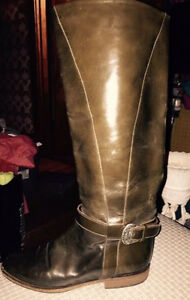 Charles David brown leather riding boots