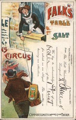 Advertising 1904 Falk's Table Salt Postcard Half Penny stamp Vintage Post Card