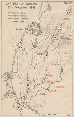 WW2 EAST AFRICAN CAMPAIGN. Capture of Gondar 27 November 1941. Ethiopia 1956 map