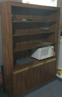 Kitchen display cabinet with microwave