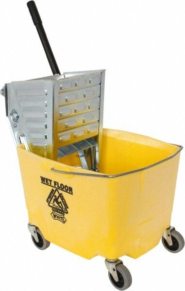 """Value Collection 35 Qt Plastic Metal Bucket & Wringer 3"""" Long, Yellow"""