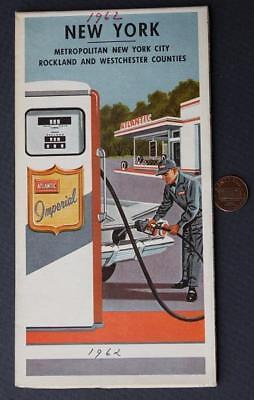 1961 Atlantic Oil Gas service station Metropolitan New York road map-VINTAGE!