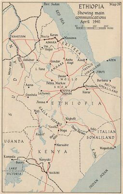WW2 EAST AFRICAN CAMPAIGN. Ethiopia main communications April 1941 1956 map