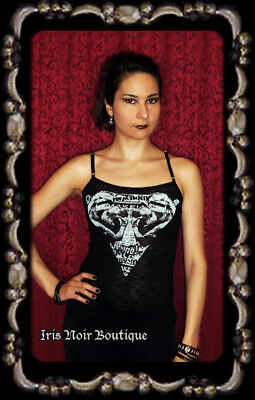 Lip Service Fashion Victim Punk Goth 80s Black/White Screen Tank XS