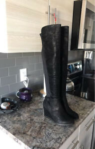 Thigh High Boots - Brand New - Black Wedge Heel - Size 9
