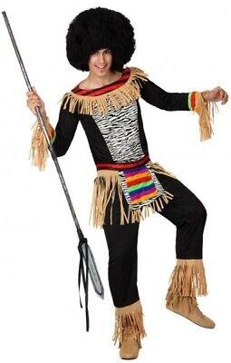 Herren Zulu Tribe Leader Afrikanische aus Aller Welt Kostüm Kleid Outfit M-XL