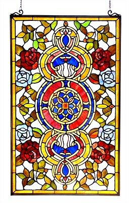 Medallion Tiffany Style Stained Glass Window Panel 20 x 32 ~ONLY ONE THIS PRICE~