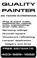 Painter with 25 years experience in Calgary & area CASH Jobs!