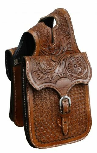 "Western Saddle Leather Horn Bag w/ Floral + Basket Weave Tooling 7"" x 6.5"" X 2"""