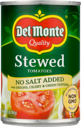 Del Monte No Salt Added Stewed Tomatoes with Onions, Celery & Green Peppers 6 pk