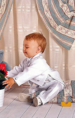 FRAC BIANCO ABITO da BATTESIMO vestito cerimonia paggetto taglia 4-6 MESI cd 844