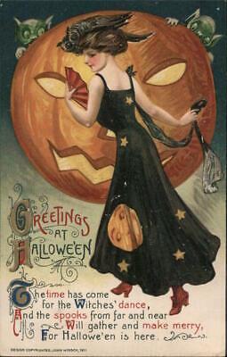 Samuel L. Schmucker Greetings at Halloween Winsch Postcard Vintage Post Card
