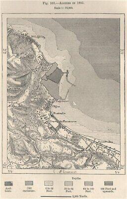 Algiers in 1885. Algeria 1885 old antique vintage map plan chart