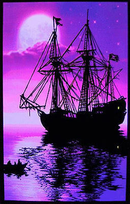 MOONLIT PIRATE SHIP - BLACKLIGHT POSTER - 23X35 FLOCKED 2006