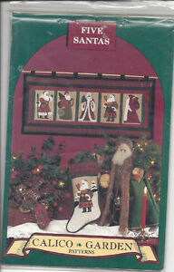 Five Santas wall quilt, stocking / sewing