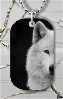WOLF WHITE HEAD #3 DOG TAG PENDANT NECKLACE FREE CHAIN -dff5Z