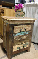 Vintage reclaimed wood 3 drawer chest