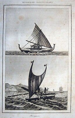 SCHIFFE SÜDSEE EINBAUM PIROGE OR.-STAHLSTICH 1838 OZEANIEN SÜDSEE PIROGUE DUGOUT