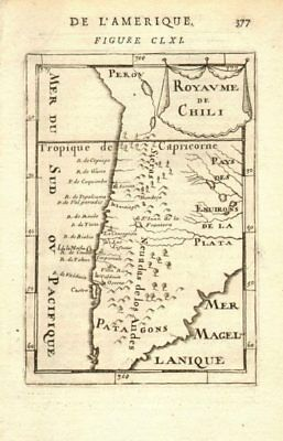KINGDOM OF CHILE. Rivers & towns. Santiago Serena Concepcion. MALLET 1683 map