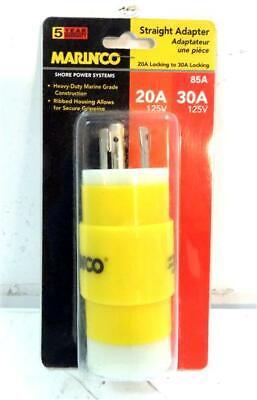 30a 125v Straight Adapter - Marinco Marine 85A 20A 125V Locking to 30A 125V Locking Straight Cordset Adapter