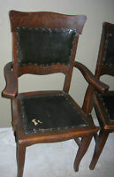 SIX Wicked ANTIQUE Black Oil Cloth Wood Chairs