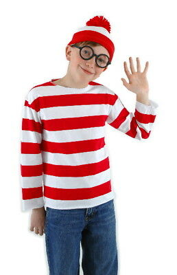 Waldo Hat And Glasses (Where's Waldo Shirt, Hat and Glasses Youth Large/XL Costume Kit NEW)