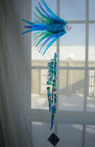 Hand Crafted fused glass wind chime London Ontario image 2