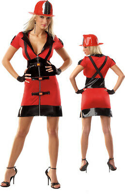 Coquette Sexy Adult Firefighter Womens Halloween Costume Party Cosplay PVC - Firefighter Womens Costume