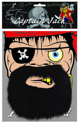 Pirate Beard - Fancy Dress Costume Captain Moustache - Outfit Party