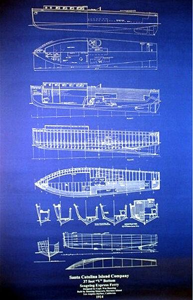 "Ships Plan Vintage Catalina Island California 1914 Ferry Drawing 24"" x 35"" (033)"