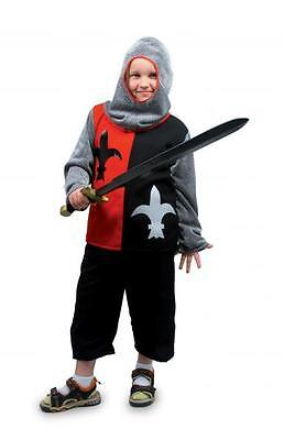 Ritterkostüm Kinder little Parcival rot/schwarz Kettenhaube Hemd Hose - Kinder Kettenhemd Kostüm
