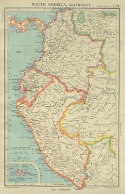 ANDEAN STATES w/ Ecuadorian–Peruvian War (Guerra del 41) border changes 1947 map