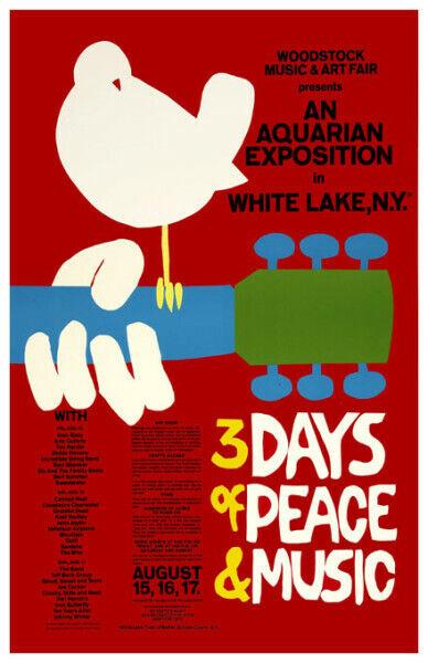 1969 *WOODSTOCK* MUSIC FESTIVAL CONCERT POSTER *JANIS JOPLIN*