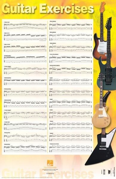 Guitar Exercises Poster - 22 inch x 34 inch Poster Guitar NEW 000695858